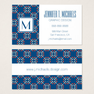 Anchor And Heart Pattern Business Card