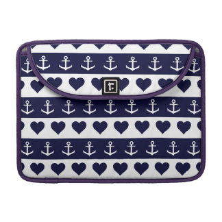 Anchor and heart pattern on custom background sleeve for MacBook pro