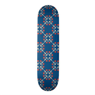Anchor And Heart Pattern Skateboard