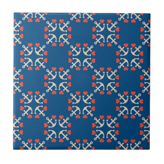 Anchor And Heart Pattern Tiles