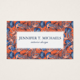 Anchor And Jellyfish Pattern Business Card