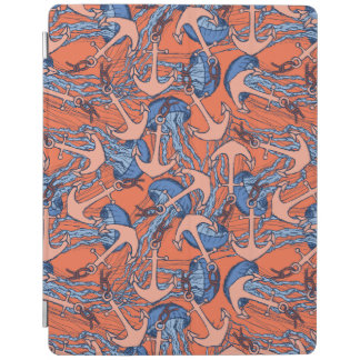 Anchor And Jellyfish Pattern iPad Cover