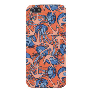 Anchor And Jellyfish Pattern iPhone 5 Case