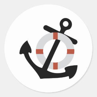 anchor and lifesaver round sticker