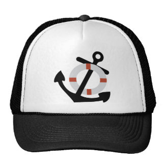 anchor and lifesaver trucker hat
