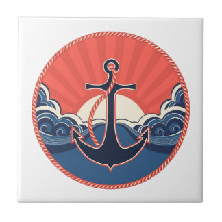 Anchor And Sea Wave Pattern Ceramic Tiles