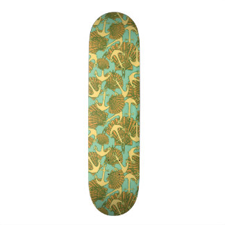 Anchor And Shells In Vintage Style Pattern Custom Skate Board