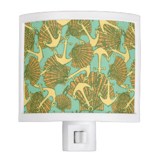 Anchor And Shells In Vintage Style Pattern Night Light