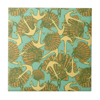 Anchor And Shells In Vintage Style Pattern Tiles
