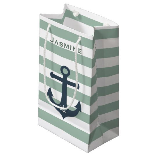 Anchor and ships wheel mint patterns customizable small gift bag
