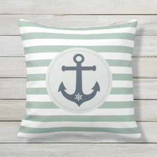 Anchor and ships wheel  mint stripes nautical outdoor pillow