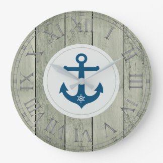 Anchor and ships wheel rustic wood roman numerals large clock