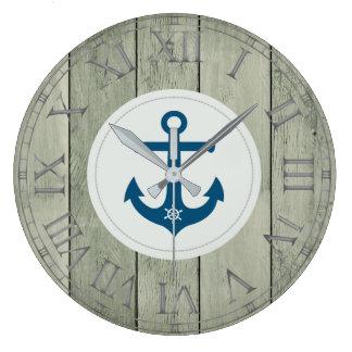 Anchor and ships wheel rustic wood roman numerals wall clocks