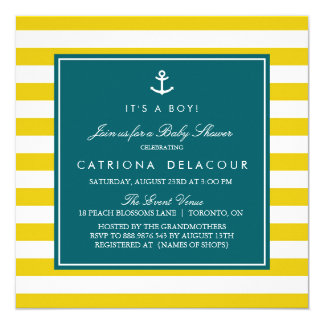 Anchor and Stripes | Mustard and Teal Baby Shower Card