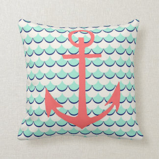 Anchor and Waves Throw Pillow
