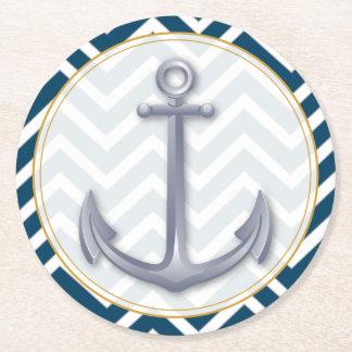 Anchor Anniversary Round Paper Coaster