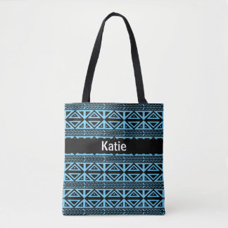 Anchor Aqua and Black Tribal Striped Pattern Tote