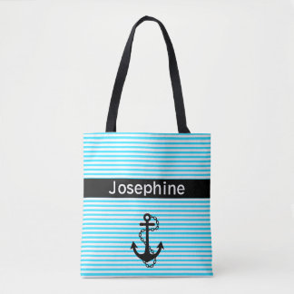 Anchor Aqua and White Striped Pattern Tote