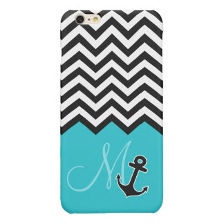 Anchor Aqua Blue Chevron Pattern Stylish Monogram