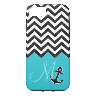 Anchor Aqua Blue Chevron Pattern Stylish Monogram iPhone 8/7 Case