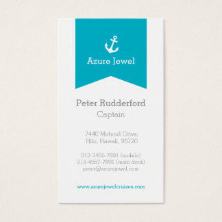 Anchor aqua blue white yacht business card