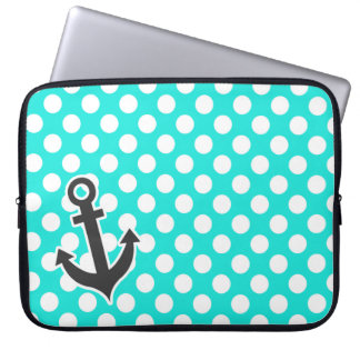 Anchor; Aqua Color Polka Dots Laptop Computer Sleeve