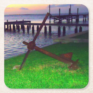 Anchor at Sunset Nautical Square Paper Coaster