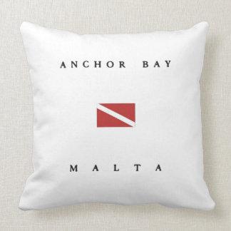 Anchor Bay Malta Scuba Dive Flag Throw Pillow