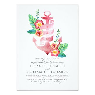 Anchor Beach Nautical Tropical Engagement Party Card
