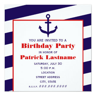 Anchor Birthday Party Ocean / Sailing Card