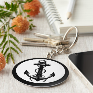 Anchor black and white keychain