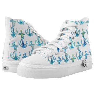 Anchor Blue Green Beach Shoes