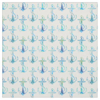 Anchor Blue Green White Fabric