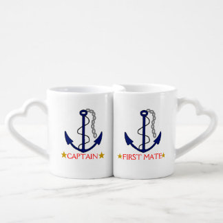 Anchor-Captain and First Mate 50th Anniversary Coffee Mug Set