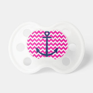 Anchor Chevron Nautical Pink and Navy Pacifier