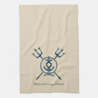 Anchor design lake house, beach house, or boat kitchen towel