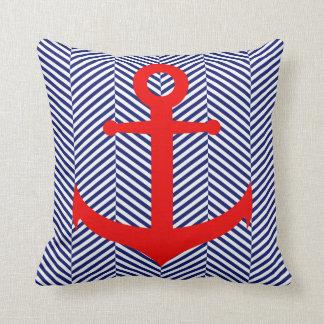 ANCHOR DESIGN, Red White & Blue Nautical Throw Pillow