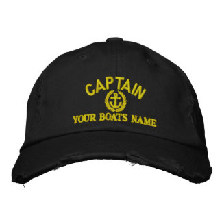 Anchor design sailing captain embroidered hat