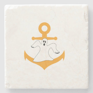 Anchor ghost Halloween Stone Coaster
