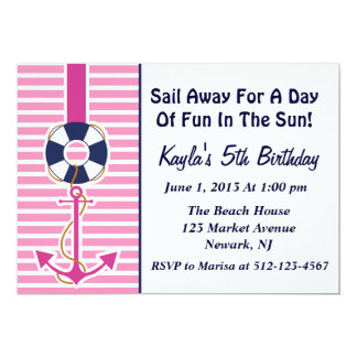 Anchor Girl Invitation