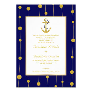 Anchor, gold beads navy blue nautical wedding card