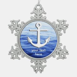 Anchor Graphic to personalize Snowflake Pewter Christmas Ornament