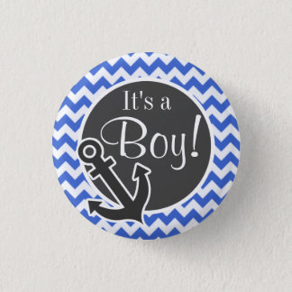 Anchor; Han Blue Chevron Stripes 1 Inch Round Button