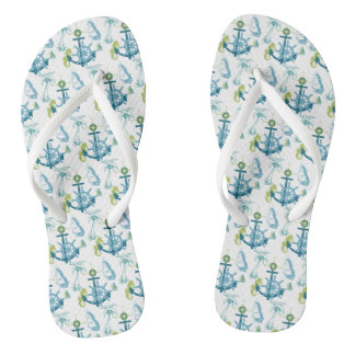 Anchor Helm Palm Tree Seahorse Yacht Ship Navy Blu Flip Flops