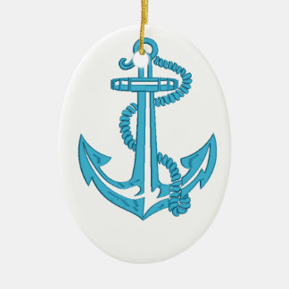 anchor - imitation of embroidery ceramic ornament