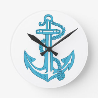 anchor - imitation of embroidery round clock