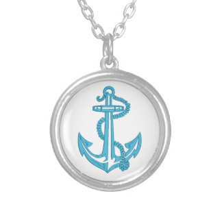 anchor - imitation of embroidery silver plated necklace