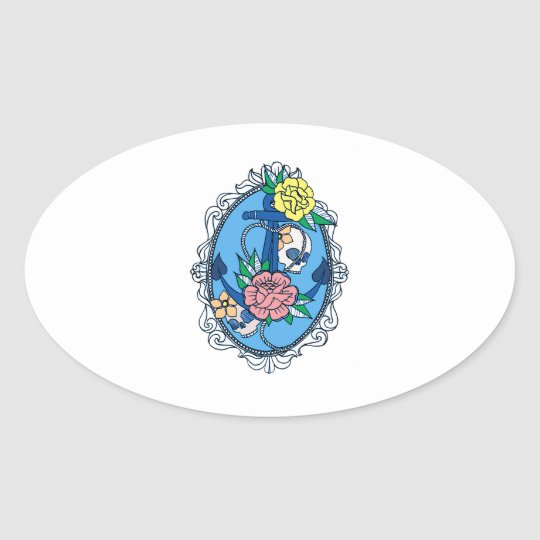 Anchor in Frame Oval Sticker