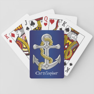 Anchor Just Add Name Navy Blue Poker Deck