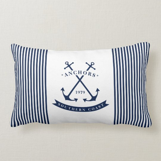Anchor Label Nautical Lumbar Pillow - Striped